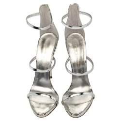 Giuseppe Zanotti Silver Patent Leather Harmony  Sandals Size 39