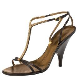 Giuseppe Zanotti Brown Leather Crystal Embellished Strappy Sandals Size 38.5