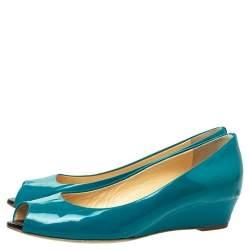 Giuseppe Zanotti  Pine Green Patent Leather Peep Toe Wedge Pumps Size 38