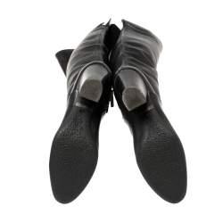 حذاء بوت جوسيبي زانوتي كعب عريض طول ركبة جلد أسود مقاس 37