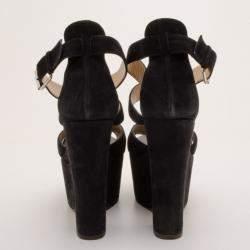 Giuseppe Zanotti Black Suede Platform Sandals Size 41
