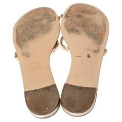 Giuseppe Zanotti Beige Leather Embellished Toe Ring Flat Sandals Size 41