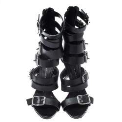 Giuseppe Zanotti Black Leather Gladiator Sandals Size 38