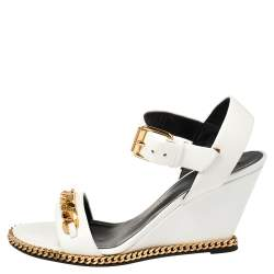 Giuseppe Zanotti White Leather Chain-Link Wedge Sandals Size 38