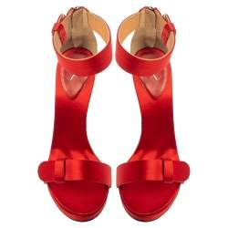 Giuseppe Zanotti Red Satin Ankle Strap Open Toe Sandals Size 38