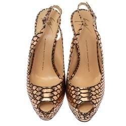 حذاء كعب عالي جوسيبي زانوتي شارون جلد نقشة التمساح لامع وسويدى نعل سميك أسود / ذهبى  مقاس 39