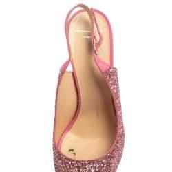 Giuseppe Zanotti Pink Glitter Fabric and Leather  Slingback  Peep Toe Sandals Size 39
