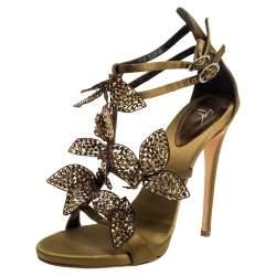 Giuseppe Zanotti Olive Green Satin Leaf Embellishment  Sandals Size 37