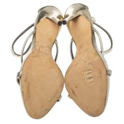 Giuseppe Zanotti Gold Foil Leather Harmony Strap Sandals Size 35