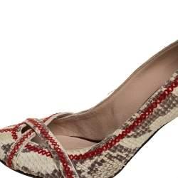 حذاء كعب عالى جوسيبى زانوتى تفاصيل غرز جلد نوبوك نقش ثعبان بيج مقاس 38
