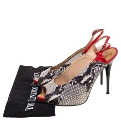 Giuseppe Zanotti Multicolor Python Embossed and Patent Leather Peep Toe Slingback Sandals Size 39