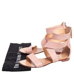 Giuseppe Zanotti Pink Python Embossed Leather Criss Cross Ankle Cuff Sandals Size 36.5