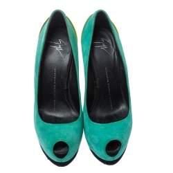 حذاء كعب عالى جوسيبى زانوتى نعل سميك مقدمة مفتوحة سويدى لونين مقاس 36