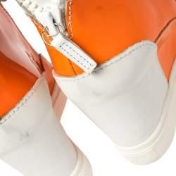 حذاء رياضي جوسيبي زانوتي مرتفع من أعلى كعب روكي جلد و جلد لامع برتقالي نيون و أبيض مقاس 37.5