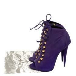 Giuseppe Zanotti Purple Suede Studded Pyramid Peep Toe Boots Size 41