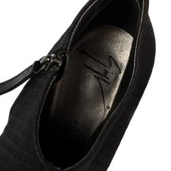 Giuseppe Zanotti Black Fabric Ankle Boots Size 38