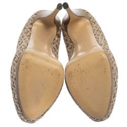 حذاء كعب عالي جوسيبي زانوتي نعل سميك و مقدمة مفتوحة قماش و غليتر رصاصي مقاس 39