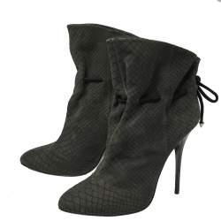 Giuseppe Zanotti Grey Embossed Python Nubuck Leather Ankle Booties Size 41