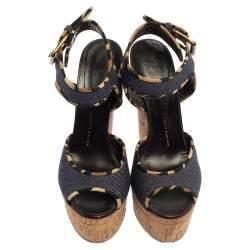 Giuseppe Zanotti Dark Wash Denim Cork Heel Platform Wedge Sandals Size 39