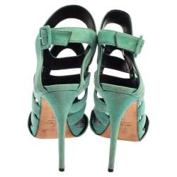 Giuseppe Zanotti Green Suede Cutout Caged Slingback Sandals Size 38