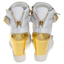 Giuseppe Zanotti White/Gold Leather Gold Pyramid Studded Sneaker Size 38.5