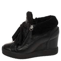 Giuseppe Zanotti Black Leather and Shearling Trim Lorenz Wedge Sneakers Size 36
