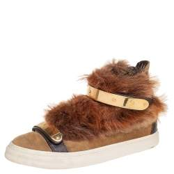 Giuseppe Zanotti Beige Suede And Fur Trim High Top Sneakers Size 38