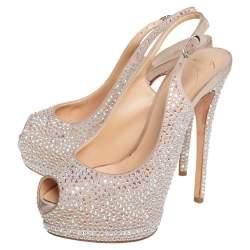 Giuseppe Zanotti Beige Suede Crystal Embellished Liza Peep Toe Platform Pumps Size 37.5