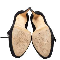 Giuseppe Zanotti Black Suede Peep Toe Front Zipper Detail Ankle Boots Size 40