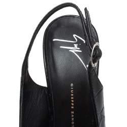 Giuseppe Zanotti Black Croc Embossed Leather Peep Toe Slingback Platform Sandals Size 39