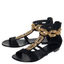 Giuseppe Zanotti Black Suede Embellished Sandals  Size 38