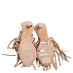 Giuseppe Zanotti Beige Suede Fringe Open Toe Ankle Wrap Sandals Size 36