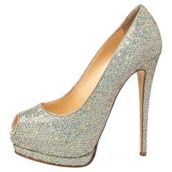 Giuseppe Zanotti Silver Glitter And Leather Sharon Peep Toe Platform Pumps Size 40