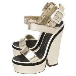 Giuseppe Zanotti Metallic Gold Leather Platform Ankle Strap Sandals Size 36.5