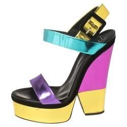 Giuseppe Zanotti Multicolor Colorblock Foil Leather Platform Ankle Strap Sandals Size 39