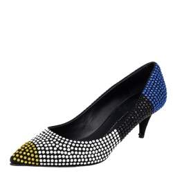 Giuseppe Zanotti Black Suede Crystal Embellished Pointed Toe Pumps Size 40