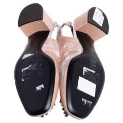 Giuseppe Zanotti Beige Velvet Crystal Embellished Slingback Sandals Size 38.5