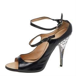Giuseppe Zanotti Black Leather Embellished Heel Ankle Strap Sandals Size 37