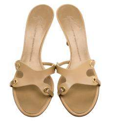 Giuseppe Zanotti Beige Leather Slides Size 39