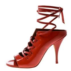Givenchy Coral Red Patent Leather Lace Up Backless Mule Sandals Size 36