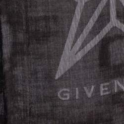 Givenchy Brown & White Star Logo Detail Wool & Silk Shawl