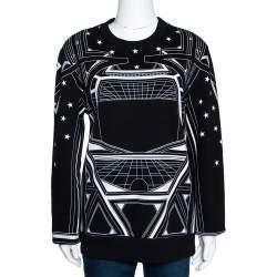 Givenchy Monochrome Knit Geometric Stars Print Sweatshirt L
