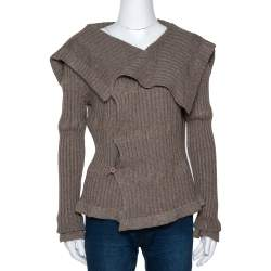 Givenchy Brown Chunky Rib Knit Asymmetrical Cardigan M