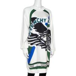 Givenchy Cream Flying Cat Print Cotton Sweater Dress S