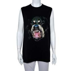 Givenchy Black Rottweiler Print Sleeveless T-Shirt XS