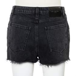 Givenchy Dark Grey Denim Washed Out Effect Raw Edge Detail Shorts M