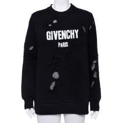 Givenchy Black Cotton Logo Printed Distressed Sweatshirt S