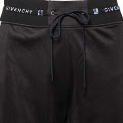 Givenchy Black Knit Contrast Velvet Band Detail Track Pants S