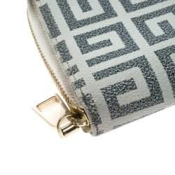 Givenchy White/Grey Coated Canvas Antigona Zip Around Wallet