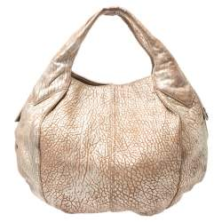 Givenchy Gold/Beige Pebbled Leather Hobo